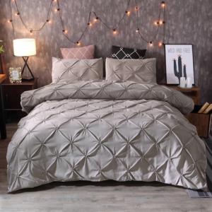 Pinch Pleat Plain Grey Color Without Filler 6 Pieces King Size Bedding Set