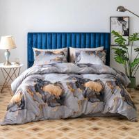 Without Filler 6 Pieces King Size Marble Design Flint Grey Color Bedding Set