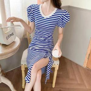 V Neck Stripes Printed Drawstring Split Hem Mini Dress