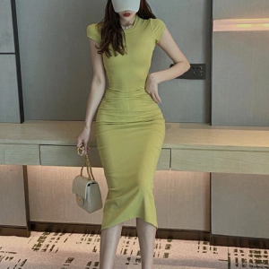 Body Fitted Short Sleeves Solid Color Midi Dress - Yellow