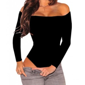 Off Shoulder Body Fitted Full Sleeves Bodysuit - Black