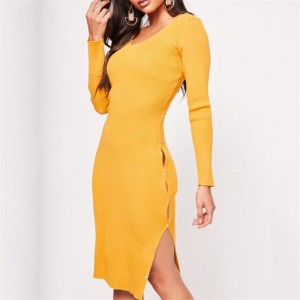 Body Fitted Cut Out Full Sleeves Solid Color Mini Dress - Yellow