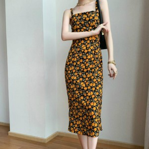 Strap Shoulder Floral Printed Midi Dress - Orange