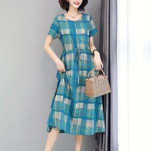 Checkered Round Neck A-Line Mini Dress - Blue