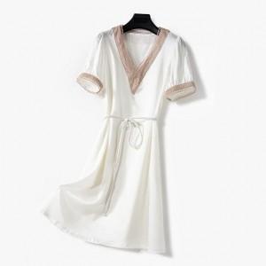 Deep V Neck Short Sleeves Elegant Mini Dress