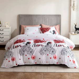 Red Heart Design Without Filler 6 Pieces King Size Bedding Set