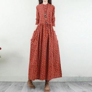 O Neck Classic Vintage A-Line Maxi Dress - Red