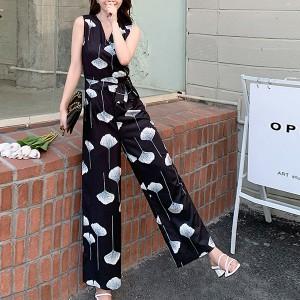 V Neck Sleeveless Digital Printed Romper Dress - Black