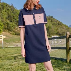 Polo Neck Contrast Vintage Classic Wear Mini Dress - Blue