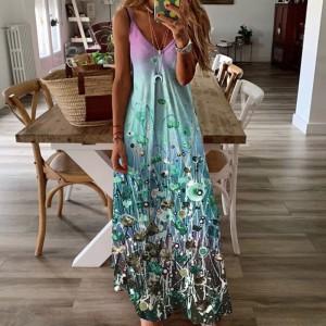 Spaghetti Strapped Floral Printed Maxi Dress - Sea Green