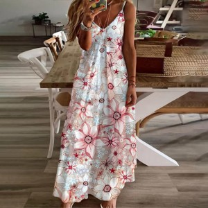 Spaghetti Strapped Floral Printed Maxi Dress - Pink