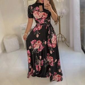 Printed Fancy Party Wear Elegant Maxi Dress - Black