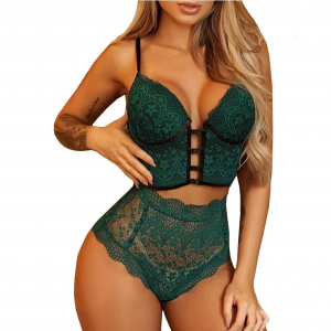 Floral Thread Art Two Pieces Thin Fabric Lingerie Set - Green