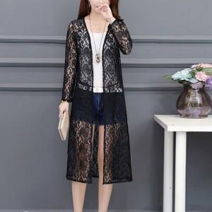 Floral Texture Summer Outwear Long Cardigan - Black