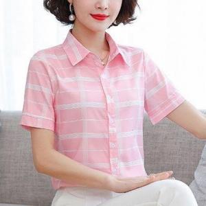 Button Closure Checkered Design Short Sleeves Shirt - Pink