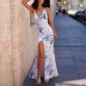V Neck Beach Wear Floral Print Split Hem Dress - White