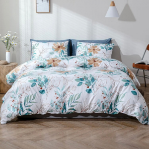 Leaves Design Without Filler 6 Pieces King Size Bedding Set