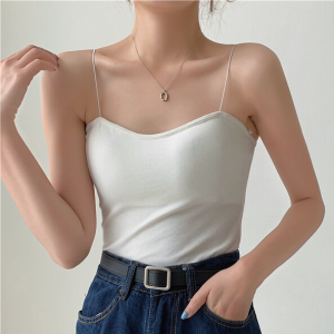 Spaghetti Strapped Solid Color Summer Wear Top - White