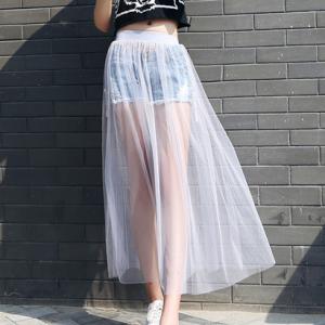 Elastic Waist Thin Fabric See Through Full Skirt - White