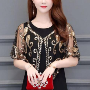 Sequins Decorative Party Wear Frilled Outwear Cardigan - Black Golden