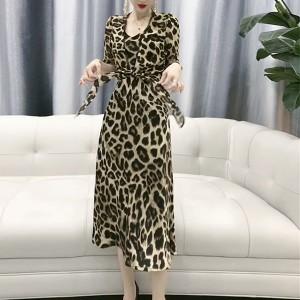 Strap Knotted Waist Leopard Printed Midi Dress - Leopard Multicolor