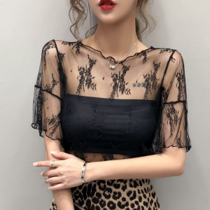 Wavy Boat Neck Thin Fabric Floral Art Blouse Top - Black