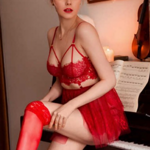 Cage Bra With Frilled Thin Fabric Skirt Lingerie Set - Red