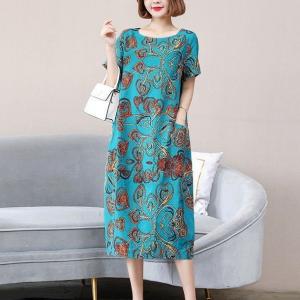 Round Neck Floral Print Short Sleeves Midi Dress - Blue