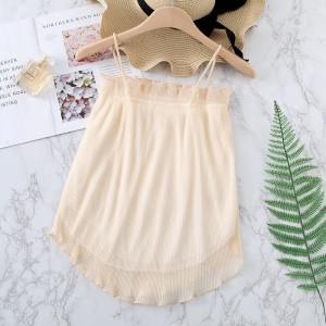 Ruffled Pattern Solid Summer Wear Top - Apricot