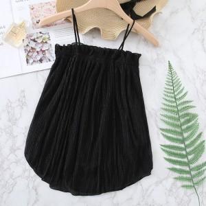 Ruffled Pattern Solid Summer Wear Top - Black