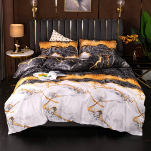 Without Filler 6 PCs Queen / Double Size Marble Design Bedding Set - Lead Grey