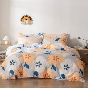 Without Filler 4 Pieces Single Size Lavish Floral Print Salmon Color Bedding Set