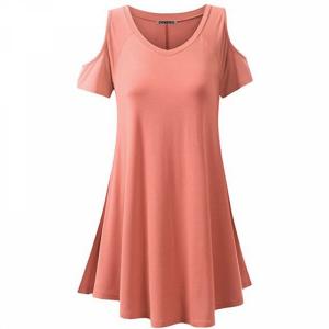 Cold Shoulder Round Neck A-Line Mini Dress - Pink