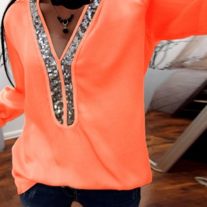Sequins Patched Party Wear Solid Color Summer Blouse Top - Orange