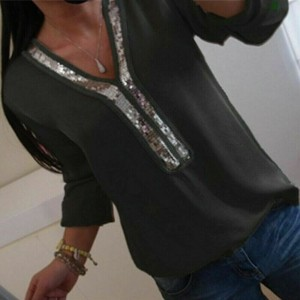 Sequins Patched Party Wear Solid Color Summer Blouse Top - Black