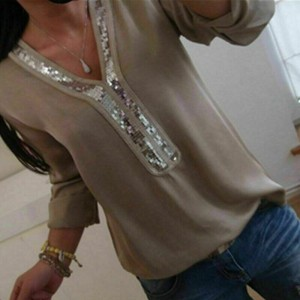Sequins Patched Party Wear Solid Color Summer Blouse Top - Khaki