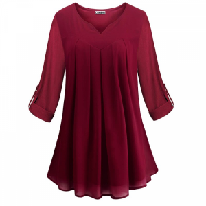 Pleated V Neck Fold Sleeves Ruffled Summer Top - Wine Red