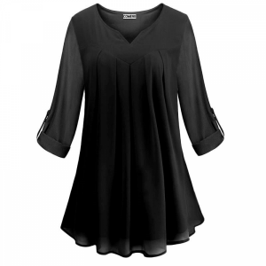 Pleated V Neck Fold Sleeves Ruffled Summer Top - Black