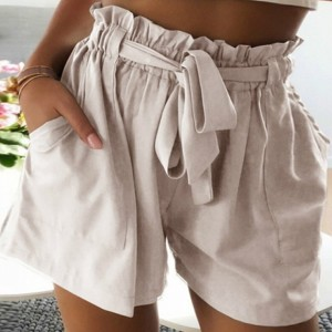 Strap Waist Solid Color Casual Wear Shorts - Light Pink