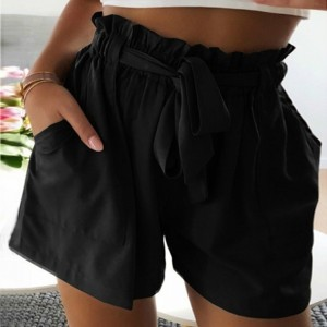 Strap Waist Solid Color Casual Wear Shorts - Black