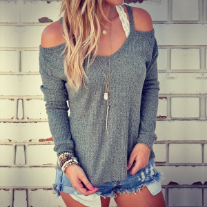 Cold Shoulder Solid Color Full Sleeves Blouse Top - Dark Gray