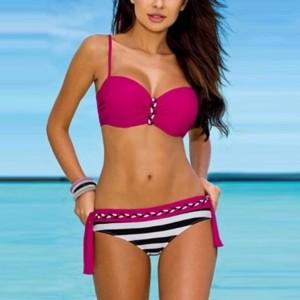 Two Pieces Swim Wear Sexy Bikini Beach Lingerie Set - Rose Red