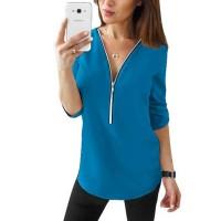 Zipper Closure Women Fashion Summer Blouse Top - Blue