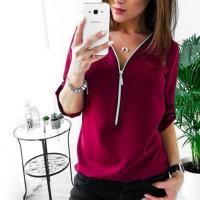 Zipper Closure Women Fashion Summer Blouse Top - Wine Red