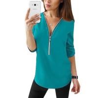Zipper Closure Women Fashion Summer Blouse Top - Peacock Blue