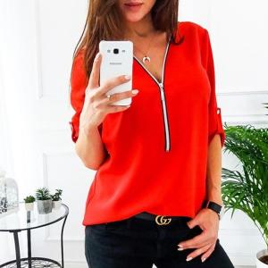 Zipper Closure Women Fashion Summer Blouse Top - Red