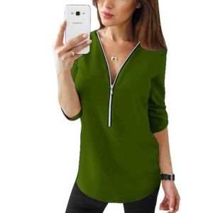 Zipper Closure Women Fashion Summer Blouse Top - Green