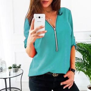 Zipper Closure Women Fashion Summer Blouse Top - Light Blue