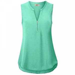 Stand Neck Zipper Sleeveless Summer Blouse Top - Light Green