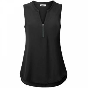 Stand Neck Zipper Sleeveless Summer Blouse Top - Black